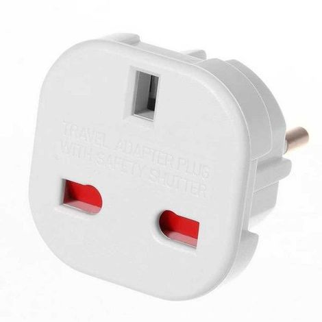Adaptador de Enchufe de UK a Enchufe Europeo Blanco