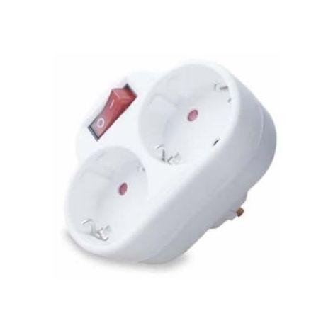 Adaptador de enchufe doble con interruptor 16A blanco GSC 0203307