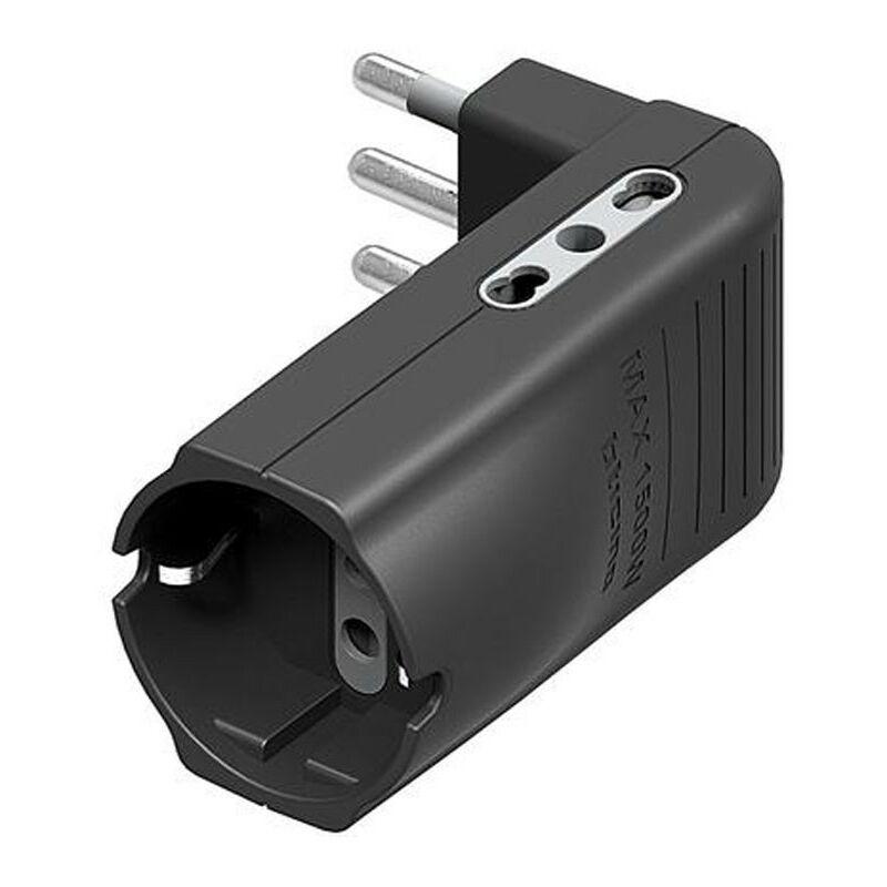 bticino S3606GE adaptador de enchufe el/éctrico Antracita Adaptador para enchufe 250 V, 16 A, Antracita, De pl/ástico, Male connector // Female connector, CEI 23-50