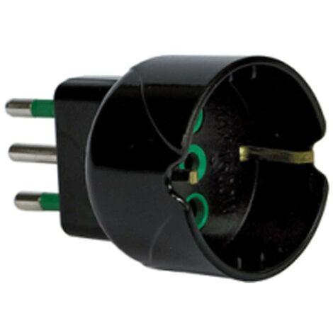 Adaptador de Fanton, Enchufe 2P+T 10A con schuko 10A Negro 82601-Y