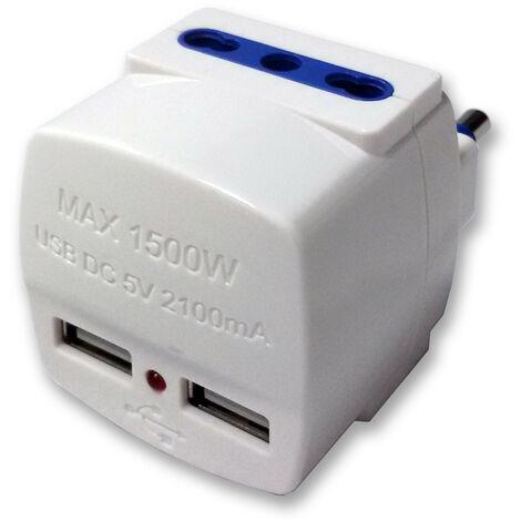 Adaptador de Master blancos dos salidas de 16A y dos fuentes de alimentación, USB 05691