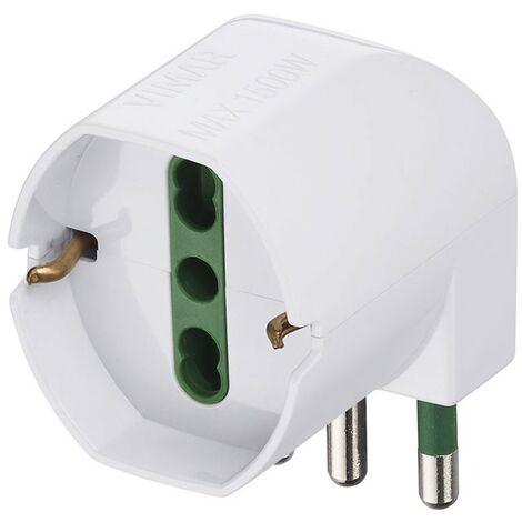 Adaptador de Vimar desplazamiento S17 + Enchufe 2P+e 90° blanco 00305.B