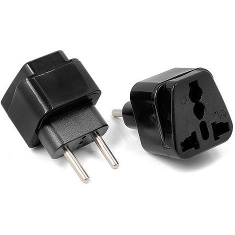 Adaptador Enchufe de UK-US-AU-Asia a Enchufe Europeo Negro