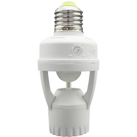 Adaptador para bombilla LED E27 con sensor de movimiento PIR 360º IP20