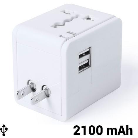 Adaptador para Enchufes 2100 mAh 145303   Blanco