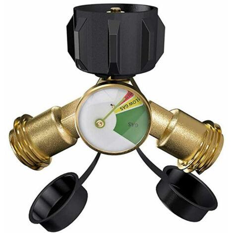 Adaptador Propano Y-adaptador del divisor 2 Con Gauge botella de gas Camino Lp BBQ T Conector