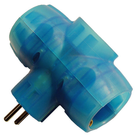 adaptador triple 16a azul