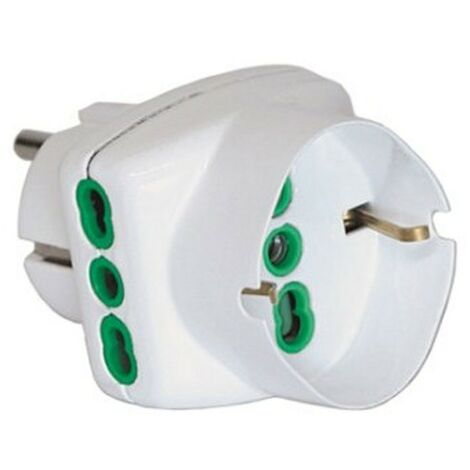 Adaptador Triple Fanton, 2 tomas de derivación y schuko Blanco 82230