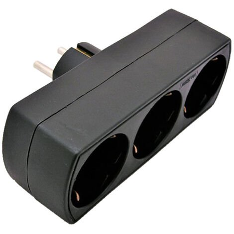adaptador triple frontal 16a negro