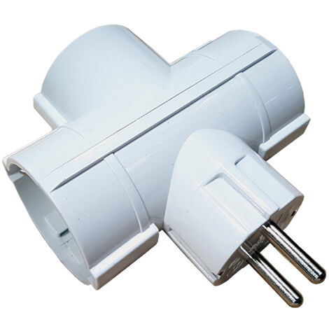 Adaptador triple Schuko retrac. 16A-250V
