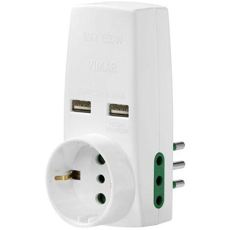 Adaptador Triple Vimar con 2 tomas USB y se conecta 10A 1 schuko 0P00332.B