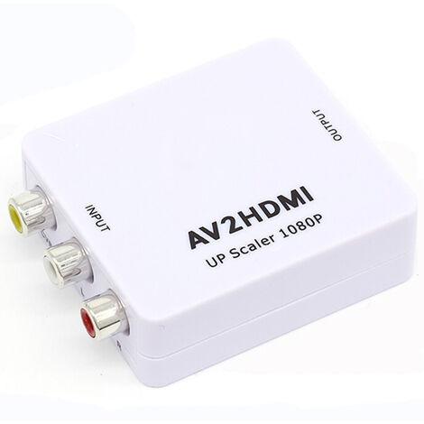 Adaptateur de convertisseur audio vidéo RCA CVBS AV vers HDMI pour appareil photo DVD VHS magnétoscope PSP Xbox PS2 vers nouveau moniteur ou projecteur
