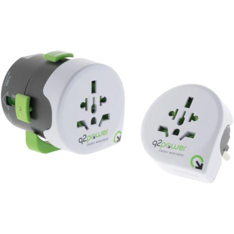 """main image of """"Adaptateur de voyage avec USB compatible avec plus de 195 pays - Q2 Power"""""""