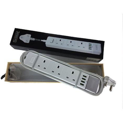 Adaptateur de voyage CONGO rallonge électriqueprise multiple 3 UK douilles 4 USB à 3 broches 1.5m