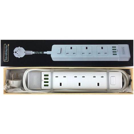 Adaptateur de voyage DINDE rallonge électriqueprise multiple 3 UK douilles 4 USB à 2 broches 1.5m