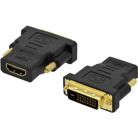 Adaptateur HDMI, DVI ednet 84522 [1x HDMI femelle - 1x DVI mâle 18+1 pôles] noir vissable, contacts dorés A290021
