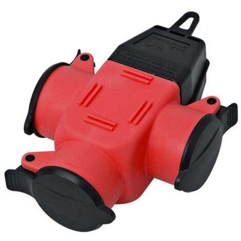 Adaptateur triple interBär 9007-002.01 caoutchouc 230 V rouge IP44 1 pc(s)