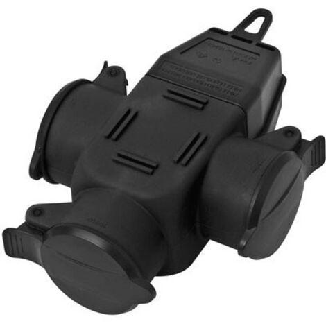 Adaptateur triple interBär 9007-004.01 caoutchouc 230 V noir IP44 1 pc(s)