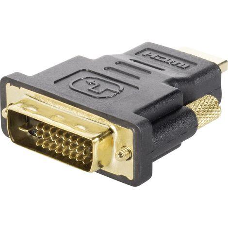 Adaptateur TV, écran Renkforce RF-4233372 [1x HDMI mâle - 1x DVI mâle 24+1 pôles] noir contacts dorés 1 pc(s) W999511