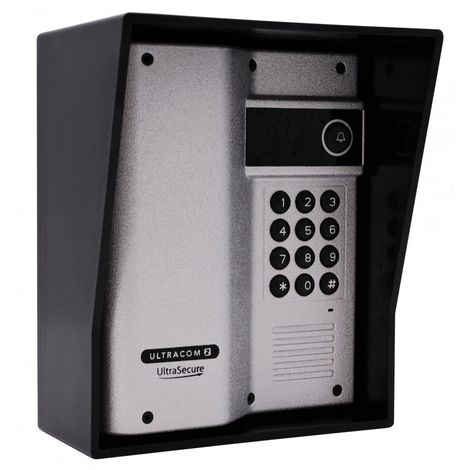 Additional UltraCOM2 Caller Station (with keypad) Silver with Black Hood. [006-4030]