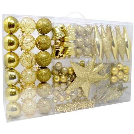 Immagini Natale Oro.Addobbi Per Albero Di Natale 102 Pz Oro Palline Calze Stelle Pigne Natalizie