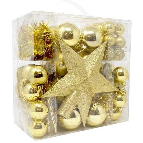 Immagini Natale Oro.Addobbi Per Albero Di Natale 77 Pz Oro Gold Palline Stelle Stalattiti Natalizie