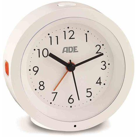 ADE ADE Analoger Wecker mit Nachtlicht-Sensor ? 105 x 38 mm weiß