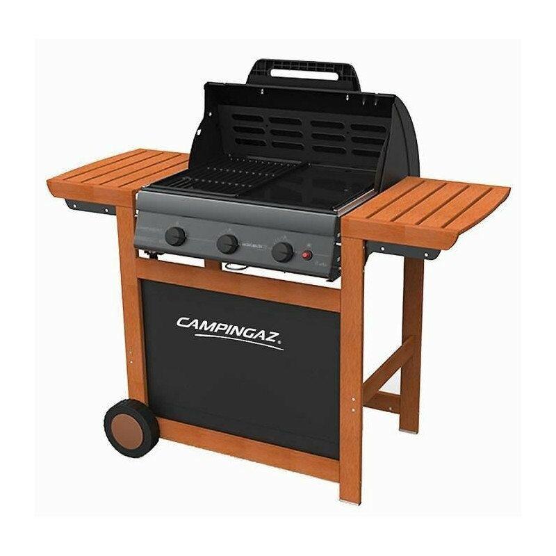 Barbecue gaz 3 séries Woody L grille + plancha acier