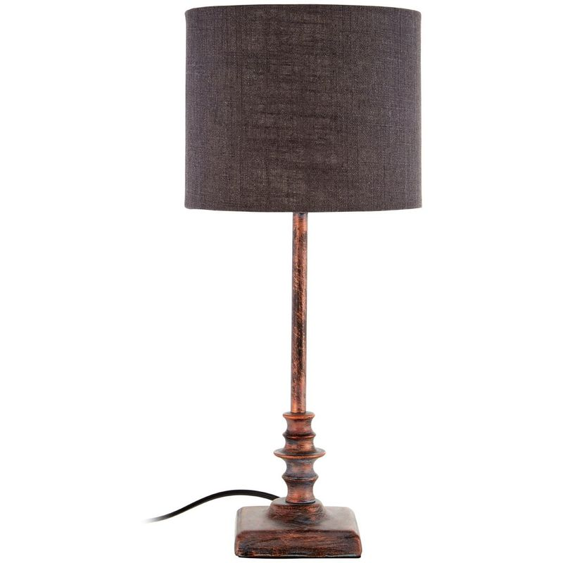 Image of Adele Table Lamp, Metal Base / Fabric Shade, Distressed Copper / Dark Grey