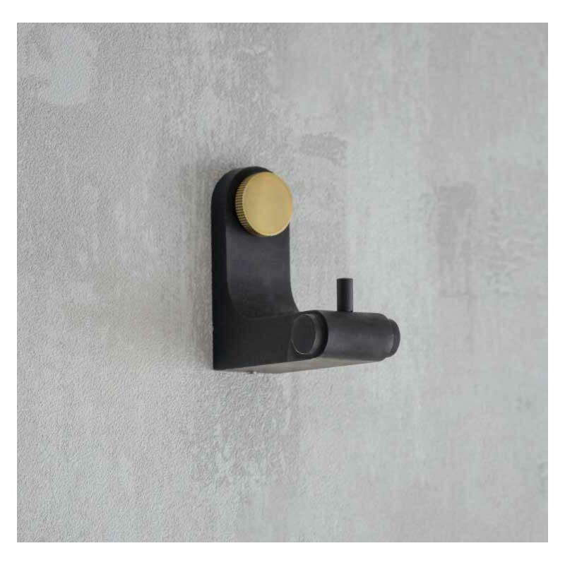 Image of Adelphi Black & Brass Bathroom Door Dressing Gown Robe Towel Hook Metal Steel - GARDEN TRADING