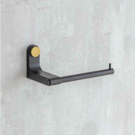 Adelphi Matt Black & Brass Bathroom Toilet Roll Holder Wall Mounted Metal Steel