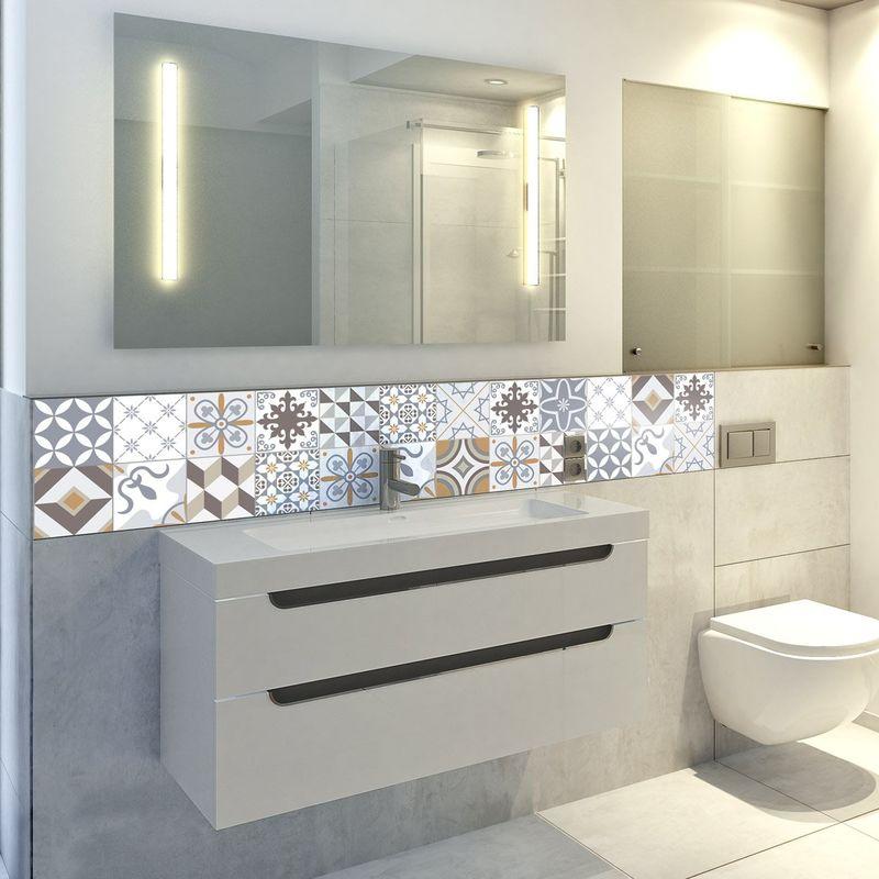 Adesivi a forma di piastrelle, per la parete del bagno o della cucina,  fantasie tradizionali, beige, 24 pezzi da 10 x 10 cm