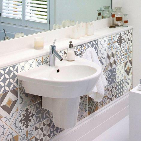 Adesivi a forma di piastrelle, per la parete del bagno o della cucina,fantasie tradizionali, beige,24 pezzi da 10x 10cm