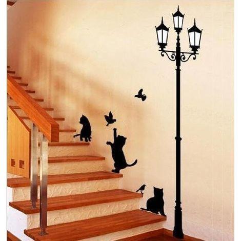 Adesivo decorativo con gatti e lampione sticker murale da parete 70 X 50 cm