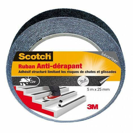 Adhésif antidérapant 5mx25mm noir, transparent ou phosphorescent Scotch - plusieurs modèles disponibles