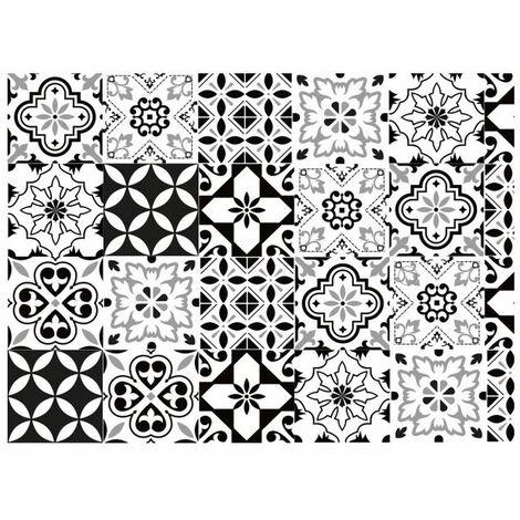 Adhésif décoratif Aspect carreaux de ciment - 150 x 45cm - Blanc