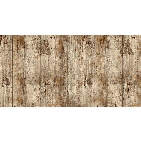 Adhésif décoratif Bois vieilli - 200 x 45 cm - Marron - Marron