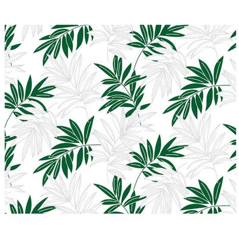 Adhésif décoratif motif feuilles vertes - 150 x 45cm - Blanc