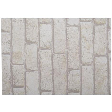 Adhésif décoratif pour meuble Brique - 200 x 45 cm - Blanc - Blanc