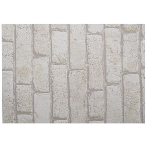 Adhésif décoratif pour meuble Brique - 200 x 67 cm - Blanc - Blanc