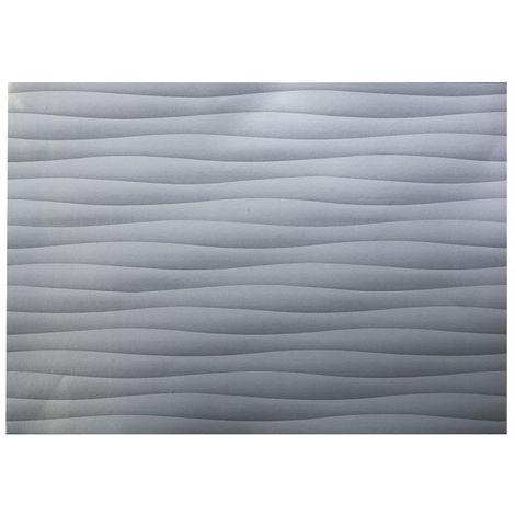 Adhésif décoratif pour meuble effet Vague - 200 x 67 cm - Argent - Argent