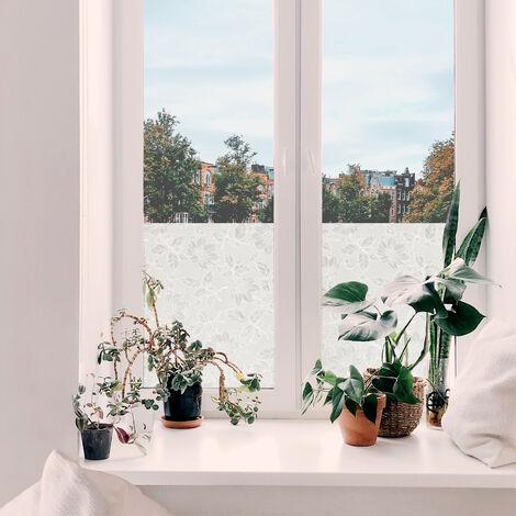 Adhésif décoratif pour vitre Damast opaque blanc 200 x 45 cm fleurs