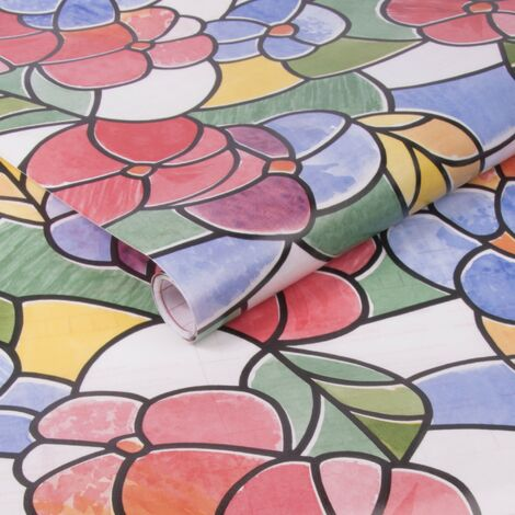 Adhésif décoratif pour vitre Fleurs Madère 200 x 45cm Multicolore