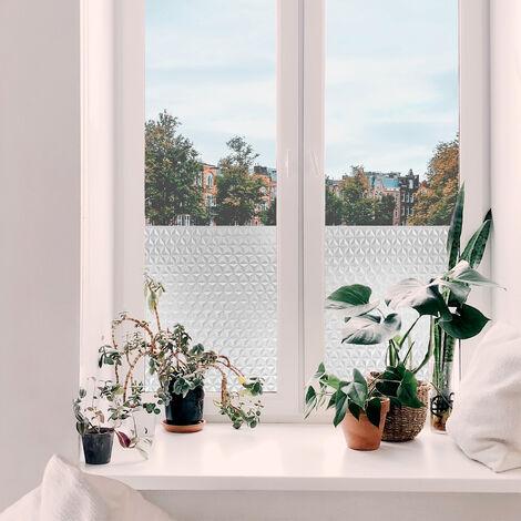 Adhésif décoratif pour vitre Geometric opaque blanc 200 x 45 cm 3D triangles