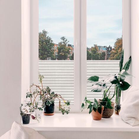 Adhésif décoratif pour vitre Lamelles de store opaque 200 x 45cm Blanc