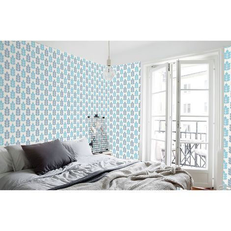 Adhésif mural décoratif Lara - 300 x 90 cm - Bleu