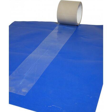 Adhésif transparent réparation bâches 100 mm x 20 m - Qualité professionnelle Tecplast