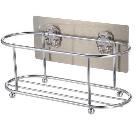 Adhesiva carrito de la ducha ninguna perforacion 22 Lbs que soportan el peso de bano estante de almacenamiento con adhesivo lavable placa posterior y hebilla para Champu Gel de Ducha