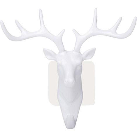 """main image of """"Adhesive Hook Deer Elk Head Shape Towel Hanger No Punching Hanging Hook Grey"""""""