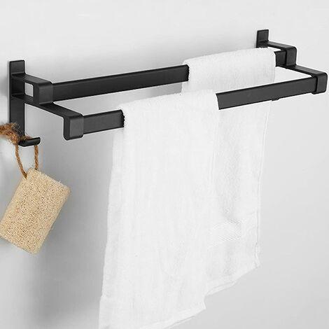 "main image of ""Adhesive Towel Rack, Matte Black Towel Rack, Towel Rack With Two Towel Racks and Hook, Non-Perforated Aluminum Alloy Towel Rack + 2 Hooks (30cm)"""